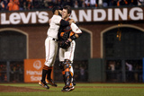 San Francisco, CA - Oct. 22: Giants v Cardinals - Sergio Romo and Buster Posey Photographic Print by Ezra Shaw