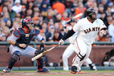 San Francisco, CA - Oct. 22: Giants v Cardinals - Pablo Sandoval and Angel Pagan Photographic Print by Christian Petersen