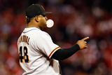 St. Louis, MO - Oct. 18: San Francisco Giants v St. Louis Cardinals - Pablo Sandoval Photographic Print by Kevin Cox