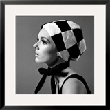 Black and White Checked Bonnet, 1960s Framed Giclee Print by John French