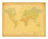 Retro Travel Map Prints by  The Vintage Collection