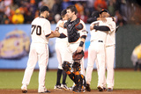 San Francisco, CA - Oct. 22: Giants v Cardinals - George Kontos and Buster Posey Photographic Print by Christian Petersen