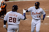 San Francisco, CA - Oct. 24:   Giants v Detroit Tigers - Prince Fielder and Barry Zito Photographic Print by Thearon W. Henderson