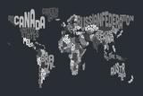Text Map of the World Reproduction transférée sur toile par Michael Tompsett