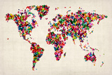 Butterflies Map of the World Sträckt Canvastryck av Michael Tompsett