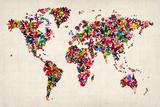Butterflies Mapa del Mundo Reproducción en lienzo de la lámina por Michael Tompsett