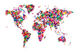 Butterflies Map of the World Reproduction transférée sur toile par Michael Tompsett