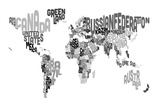 Monotone Text Map of the World Stretched Canvas Print by Michael Tompsett