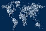Butterflies Karte von der Welt Map Leinwand von Michael Tompsett