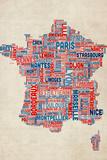 Typography Text Map of France Map Reproduction transférée sur toile par Michael Tompsett