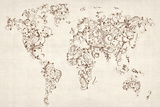 Map of the World Map Floral Swirls Stretched Canvas Print by Michael Tompsett