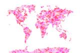 Love Hearts Karte von der Welt Map Leinwand von Michael Tompsett
