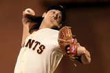 San Francisco, CA - Oct. 24:   San Francisco Giants v Detroit Tigers - Tim Lincecum Photographic Print by Doug Pensinger