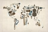 Musical Instruments Map of the World Reproduction sur toile tendue par Michael Tompsett