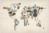 Musical Instruments Map of the World Stretched Canvas Print by Michael Tompsett
