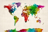 Watercolor Map of the World Map Reproduction sur toile tendue par Michael Tompsett