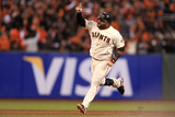 San Francisco, CA - Oct. 24:   Giants v Detroit Tigers - Pablo Sandoval  and Justin Verlander Photographic Print by Doug Pensinger