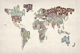 Text Map of the World Reproduction transférée sur toile par Michael Tompsett