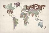 Michael Tompsett - Text Map of the World Reprodukce na plátně