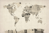 Map of the World Map from Old Postcards Stretched Canvas Print by Michael Tompsett