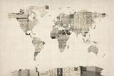 Mapa del Mundo Mapa de Viejo Postcards Reproducción en lienzo de la lámina por Michael Tompsett