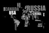 Planisphère - mappemonde : le monde en lettres Reproduction sur toile tendue par Michael Tompsett