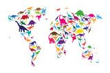 Dinosaur Mapa del Mundo Mapa Reproducción en lienzo de la lámina por Michael Tompsett