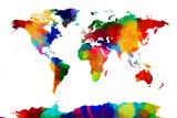 Map of the World Map Reproduction transférée sur toile par Michael Tompsett