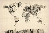 Map of the World Map from Old Clocks Reproduction transférée sur toile par Michael Tompsett