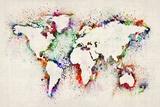 Karte von der Welt Paint Splashes Bedruckte aufgespannte Leinwand von Michael Tompsett