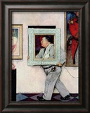 """Picture Hanger"" or ""Museum Worker"", March 2,1946 Framed Giclee Print by Norman Rockwell"