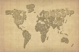 Typography Map of the World Map Stretched Canvas Print by Michael Tompsett