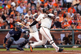 San Francisco, CA - Oct. 24:   Giants v Detroit Tigers - Pablo Sandoval  and Justin Verlander Photographic Print by Christian Petersen