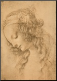 Study for the Face of the Virgin Mary of the Annunciation Now in the Louvre Mounted Print by  Leonardo da Vinci