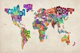 Carte du monde typographique  Reproduction transférée sur toile par Michael Tompsett
