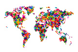 Love Hearts Map of the World Stretched Canvas Print by Michael Tompsett
