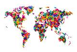 Love Hearts Mapa del Mundo Reproducción en lienzo de la lámina por Michael Tompsett