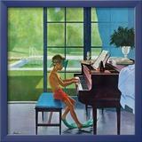 """""""Klavierübungen am Pool"""", 11. Juni 1960 Gerahmter Giclée-Druck von George Hughes"""