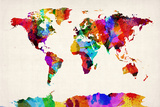 Map of the World Map Abstract Painting Reproduction transférée sur toile par Michael Tompsett