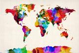 Mapa del Mundo Mapa Abstract Painting Reproducción en lienzo de la lámina por Michael Tompsett