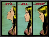 Marvel Comics Retro: Love Comic Panel, Crying, It&#39;s All Over! (aged) Affiche mont&#233;e