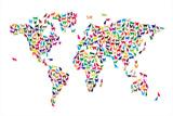 Världskarta, katter Sträckt Canvastryck av Michael Tompsett