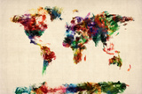 Map of the World Map Abstract Painting Stretched Canvas Print by Michael Tompsett