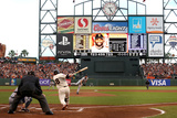 San Francisco, CA - Oct. 24:   Giants v Detroit Tigers - Pablo Sandoval  and Justin Verlander Photographic Print by Ezra Shaw