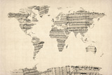 Map of the World Map from Old Sheet Music Sträckt Canvastryck av Michael Tompsett