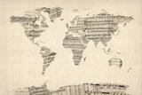 Mapa del Mundo Mapa de Viejo Sheet Music Reproducción de lámina sobre lienzo por Michael Tompsett