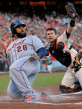 San Francisco, CA - Oct 25: San Francisco Giants v Detroit Tigers - Buster Posey and Prince Fielder Photographic Print by Doug Pensinger