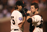 San Francisco, CA - Oct. 24:   San Francisco Giants v Detroit Tigers - Barry Zito  and Buster Posey Photographic Print by Doug Pensinger