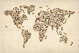 Carte du monde en chats Reproduction transférée sur toile par Michael Tompsett