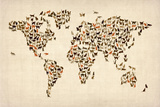 Cats Map of the World Map Stretched Canvas Print by Michael Tompsett